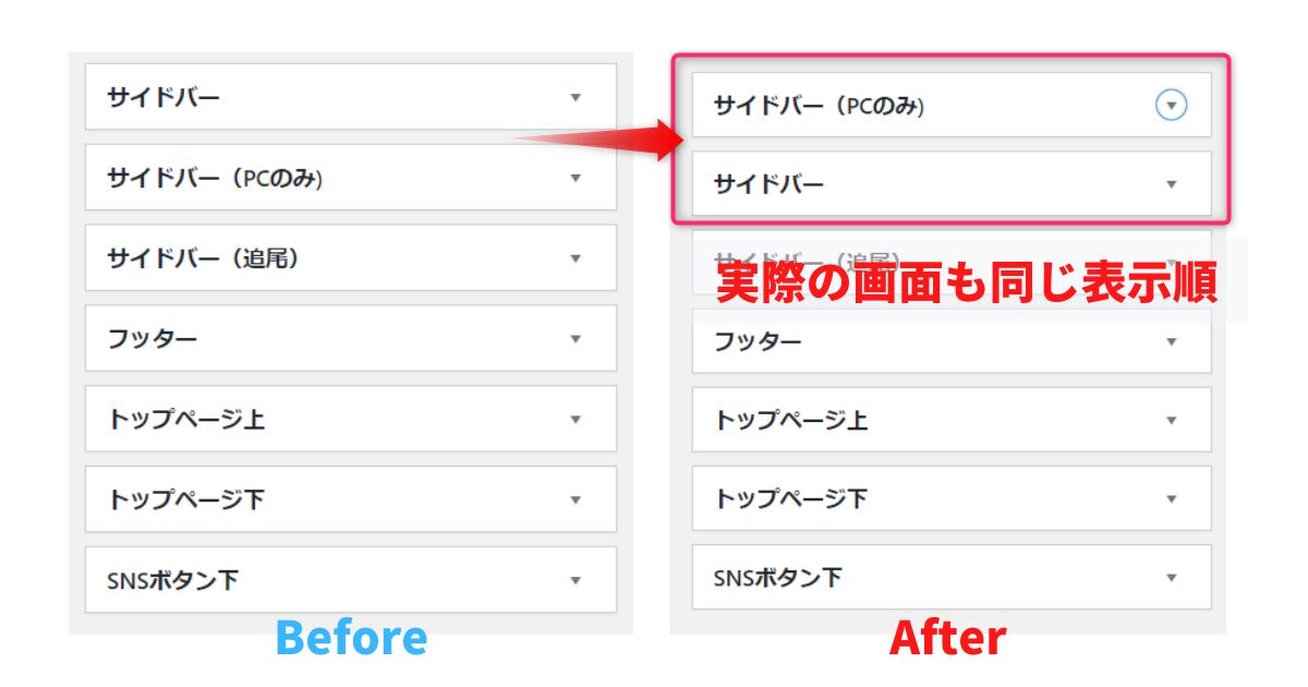 ウィジェットの表示順を変更